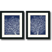 "Amanti Art ""Navy Coral - Set of 2"" Framed Art by Sabine Berg"