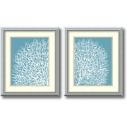 "Amanti Art ""Aqua Coral - Set of 2"" Framed Art by Sabine Berg"