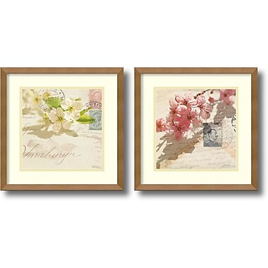 Amanti Art Vintage Letters and Blossoms Framed Art by Deborah Schenck, 2/Pack (DSW1004323)