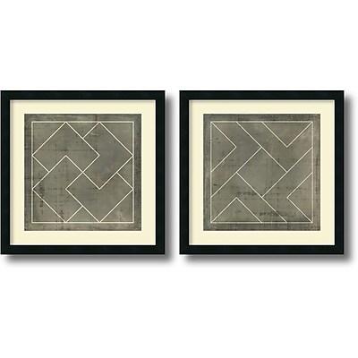 """""Amanti Art """"""""Geometric Blueprint III and IV - Set of 2"""""""" Framed Art by Vision Studio"""""" 1208981"