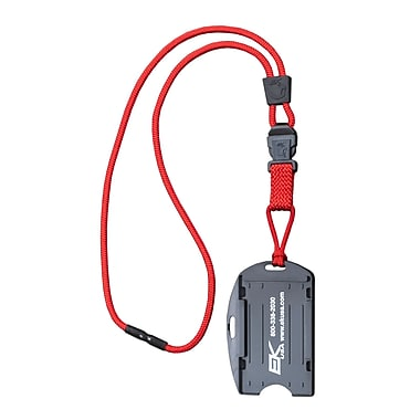 EK 10942C-C21 Dual Sided Smart Card Holder with Detachable Lanyard, Red