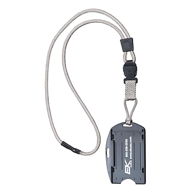 EK 10942C-C77 Dual Sided Smart Card Holder with Detachable Lanyard, Pewter