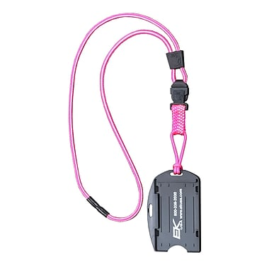 EK 10942C-C103 Dual Sided Smart Card Holder with Detachable Lanyard, Pink
