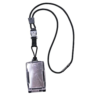 EK 10983C-C20 One Hander Card Holder with Detachable Lanyard, Black
