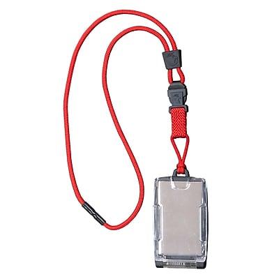 EK 10983C-C21 One Hander Card Holder with Detachable Lanyard, Red