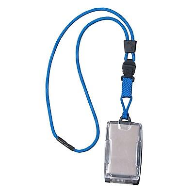 EK 10983C-C23 One Hander Card Holder with Detachable Lanyard, Blue