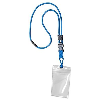 EK 11093C-C23 Lanyard with Vertical Zip Pouch, Blue