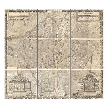 Evive Designs 1652 Gomboust 9 Panel Map of Paris, France Graphic Art