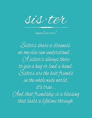 Evive Designs Sister by Susan Newberry Textual Art in Turquoise