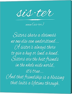 Evive Designs Sister by Susan Newberry Textual Art on Canvas in Turquoise