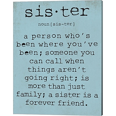 Evive Designs Sister by Susan Newberry Textual Art on Canvas in Blue