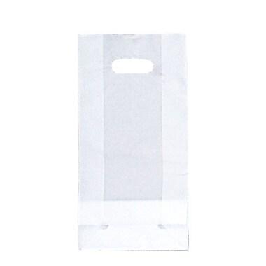 Shamrock SOS Style Bag, Clear, Die-Cut Handles with Cardboard Bottom, 7.75X3.5X15X3.5