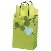 "Shamrock Kraft Paper 8.37""H x 5.5""W x 3.25""D Berry Branches Shopping Bags, Green, 100/Pack"