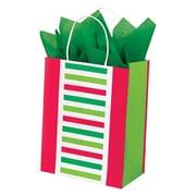 "Shamrock Kraft Paper 10.5""H x 8""W x 4.75""D Santa Stripe Shopping Bags, Multicolor, 100/Pack"