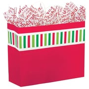 "Shamrock Kraft Paper 13""H x 16""W x 6""D Santa Stripe Shopping Bags, Multicolor, 100/Pack"