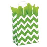 Shamrock 100% Recycled White Kraft Paper Shopper, Lime Chevron, Chimp, 100/case pack