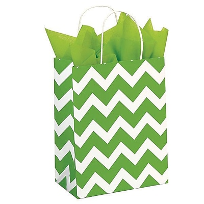 Shamrock 100% Recycled White Kraft Paper Shopper, Lime Chevron, Chimp, 100/case pack