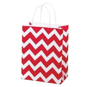 "Shamrock Kraft Paper 10.5""H x 8""W x 4.75""D Chimp Shopping Bags, Red Chevron, 100/Pack"