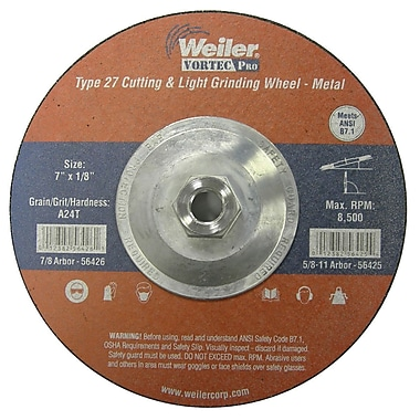 Weiler® Vortec Pro® Type 27 - Pipeline Cutting & Light Grinding Wheels