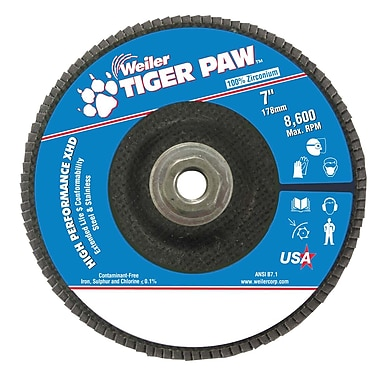 Weiler® Tiger Paw™ 40 Grit Super High Density Flap Disc, 7
