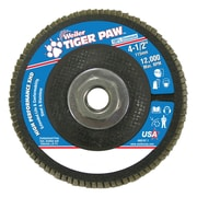 "Weiler® Tiger Paw™ 80 Grit Super High Density Flap Disc With 5/8"" Arbor Hole, 4 1/2"""