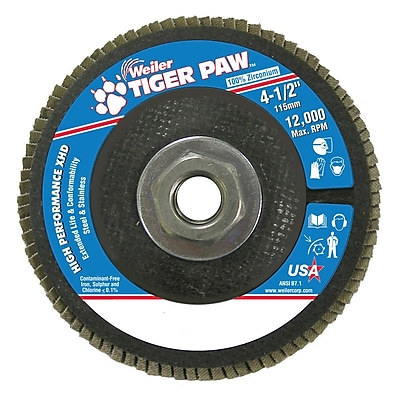 Weiler® Tiger Paw™ 80 Grit Super High Density Flap Disc With 5/8