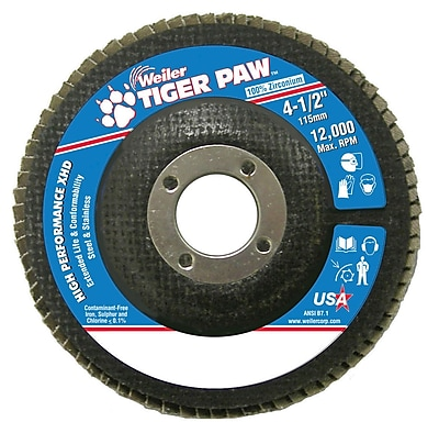 Weiler® Tiger Paw™ 60 Grit Super High Density Flap Disc With 7/8