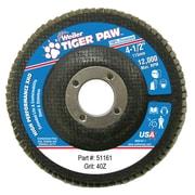 "Weiler® Tiger Paw™ 40 Grit Super High Density Flap Disc, 4 1/2"""