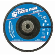 "Weiler® Tiger Paw™ 60 Grit Coated Type 29 Abrasive Flap Disc With 5/8"" Arbor Hole, 7"""