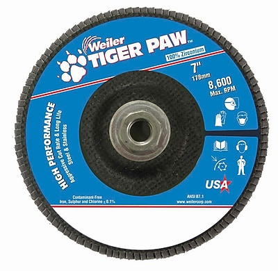 Weiler® Tiger Paw™ 60 Grit Coated Type 29 Abrasive Flap Disc With 5/8