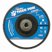 "Weiler® Tiger Paw™ 60 Grit Coated Type 27 Abrasive Flap Disc With 5/8"" Arbor Hole, 7"""