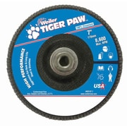 "Weiler® Tiger Paw™ 40 Grit Coated Type 27 Abrasive Flap Disc With 5/8"" Arbor Hole, 7"""