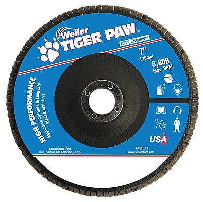 Weiler® Tiger Paw™ 60 Grit Coated Type 27 Abrasive Flap Disc With 7/8