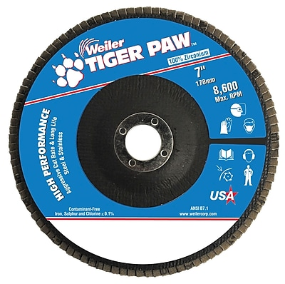 Weiler® Tiger Paw™ 40 Grit Coated Type 27 Abrasive Flap Disc With 7/8