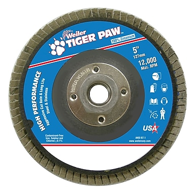 Weiler® Tiger Paw™ 60 Grit Coated Abrasive Flap Disc With 5/8