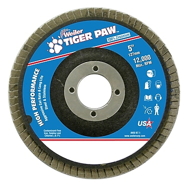 Weiler® Tiger Paw™ 60 Grit Coated Abrasive Flap Disc With 7/8