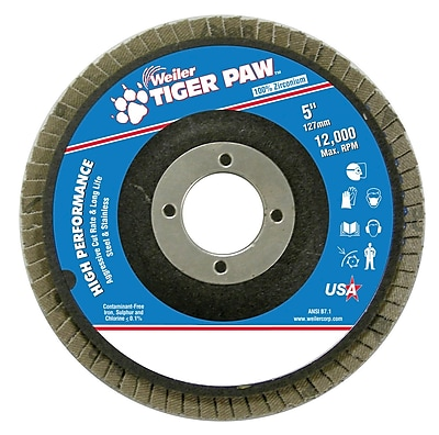 Weiler® Tiger Paw™ 40 Grit Coated Abrasive Flap Disc, 5