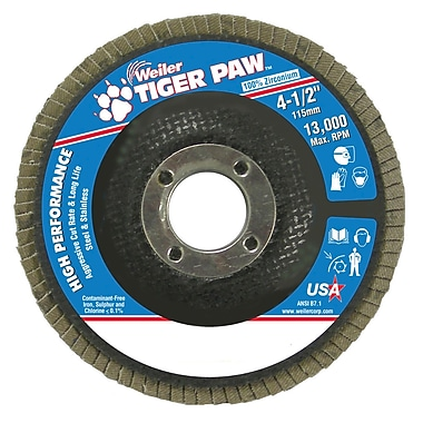 Weiler® Tiger Paw™ 60 Grit Coated Abrasive Flap Disc, 4 1/2