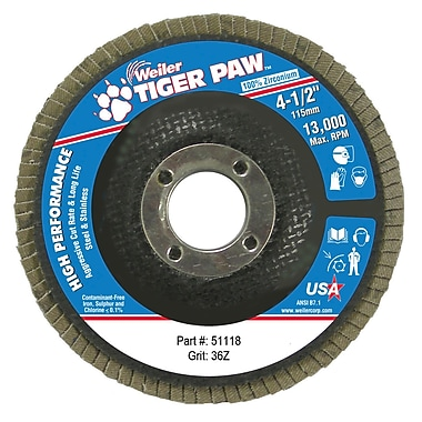 Weiler® Tiger Paw™ 36 Grit Coated Type 29 Abrasive Flap Disc With 7/8