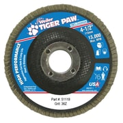 "Weiler® Tiger Paw™ 36 Grit Coated Type 29 Abrasive Flap Disc With 7/8"" Arbor Hole, 4 1/2"""