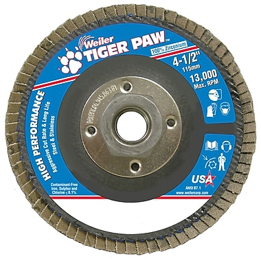 Weiler® Tiger Paw™ 36 Grit Coated Abrasive Flap Disc With 5/8