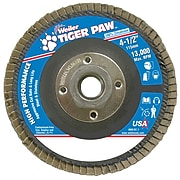 """Weiler® Tiger Paw™ 36 Grit Coated Abrasive Flap Disc With 5/8"""" - 11 Arbor Hole, 4 1/2"""""""