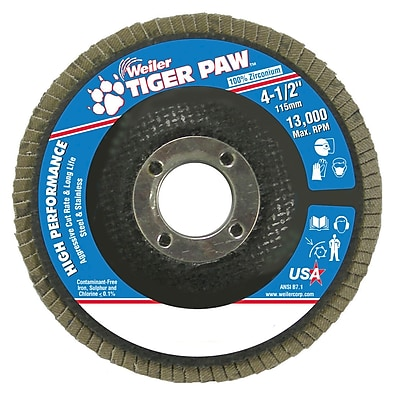 Weiler® Tiger Paw™ 36 Grit Coated Type 27 Abrasive Flap Disc With 7/8