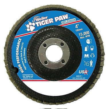 Weiler® Tiger Paw™ 40 Grit Coated Abrasive Flap Disc, 4
