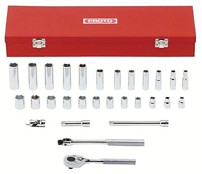 Proto® Torqueplus™ 29 Piece 6 Point Metric Combination Socket Set, 3/8