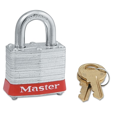 Master Lock® 4 Pin Keyed Alike Laminated Padlock With Red Bumper, 6/Box