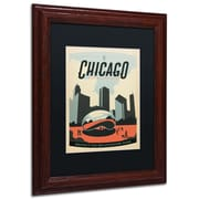 "Trademark Anderson ""Chicago Cloud Gate"" Paper Art, Black Matte W/Wood Frame, 11"" x 14"""