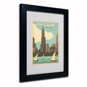 "Trademark Anderson ""Chic Windy City"" Paper Art, White Matte W/Black Frame, 11"" x 14"""
