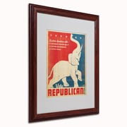 "Trademark Anderson ""Elephant"" Art, White Matte W/Wood Frame, 16"" x 20"""
