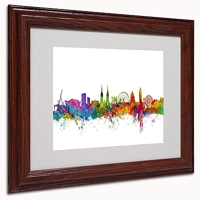 "Trademark Michael Tompsett ""Belfast Northern Ireland...II"" Art, White Matte W/Wood Frame, 11"" x 14"""